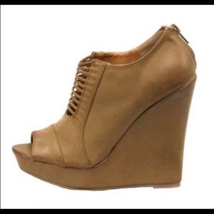 Qupid Shoes - Open Toed Chestnut Wedge Heel